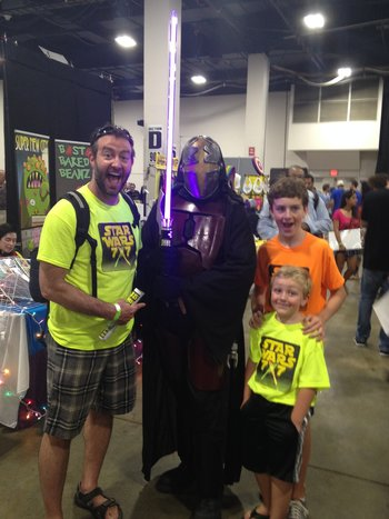 Host Allen with Quizmaster Joey, Scorekeeper Declan, and a friend from Boston Comic Con